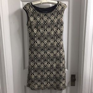 Connected Apparel sheath dress cream and black